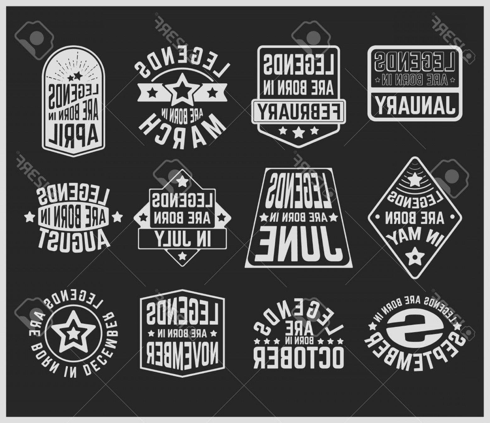Vector Stamp Shirts: Photostock Vector T Shirt Print Design Legends Are Born In Various Months Vintage T Shirt Stamp Or Patch Set Design Fo