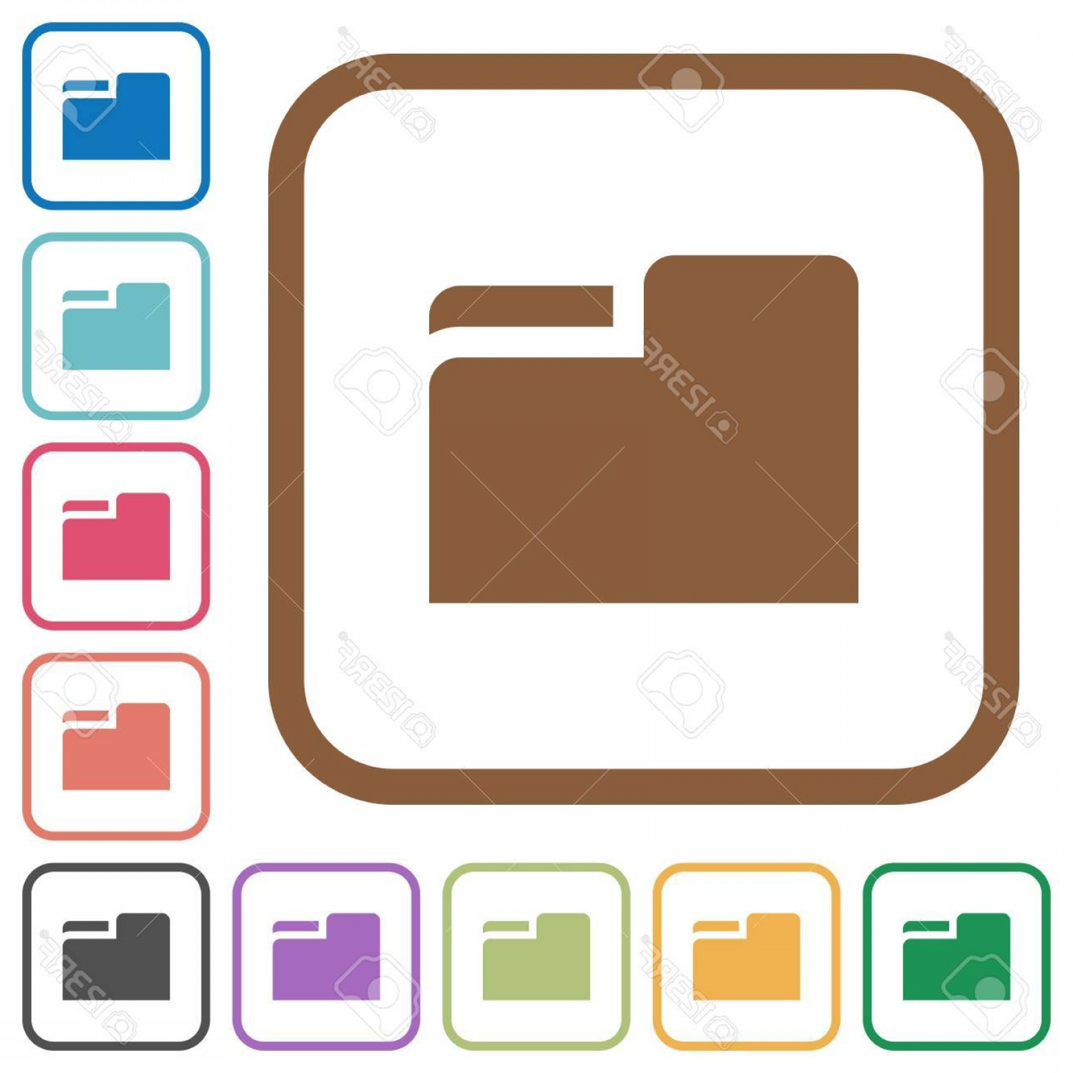 Folder Tab Vectors: Photostock Vector Tab Folder Simple Icons In Color Rounded Square Frames On White Background