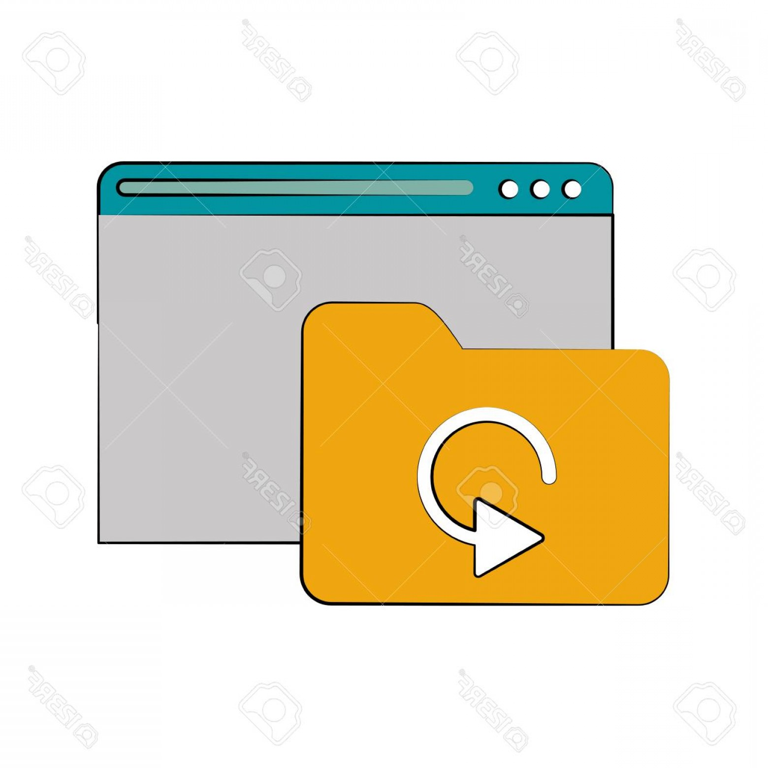 Folder Tab Vectors: Photostock Vector Tab Webpage Or Website With File Folder Icon Image Vector Illustration Design