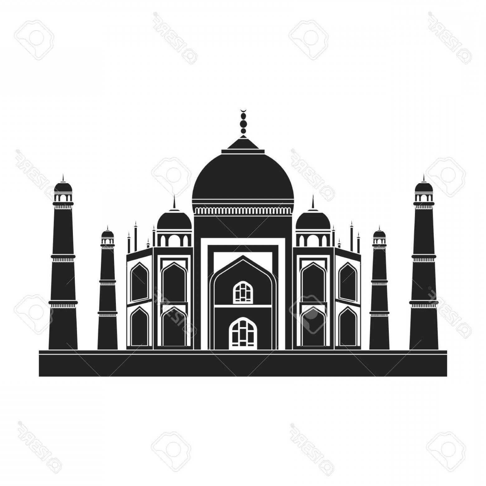 Taj Mahal Vector: Photostock Vector Taj Mahal Icon In Black Style Isolated On White Background India Symbol Vector Illustration