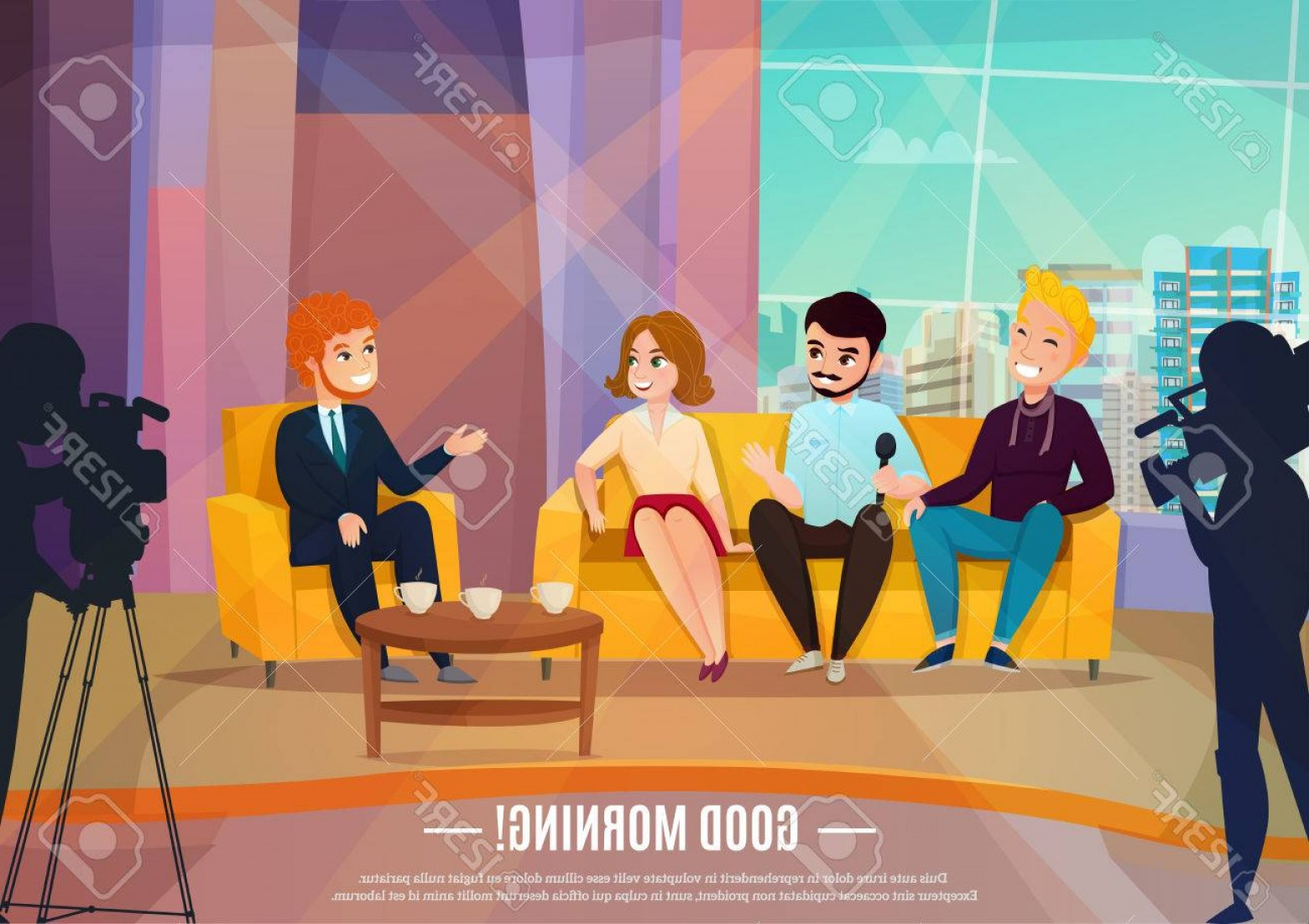 Talk Show Vector: Photostock Vector Talk Show Flat Poster With Three Participants Sitting On A Couch And Male Reporter Vector Illustrati