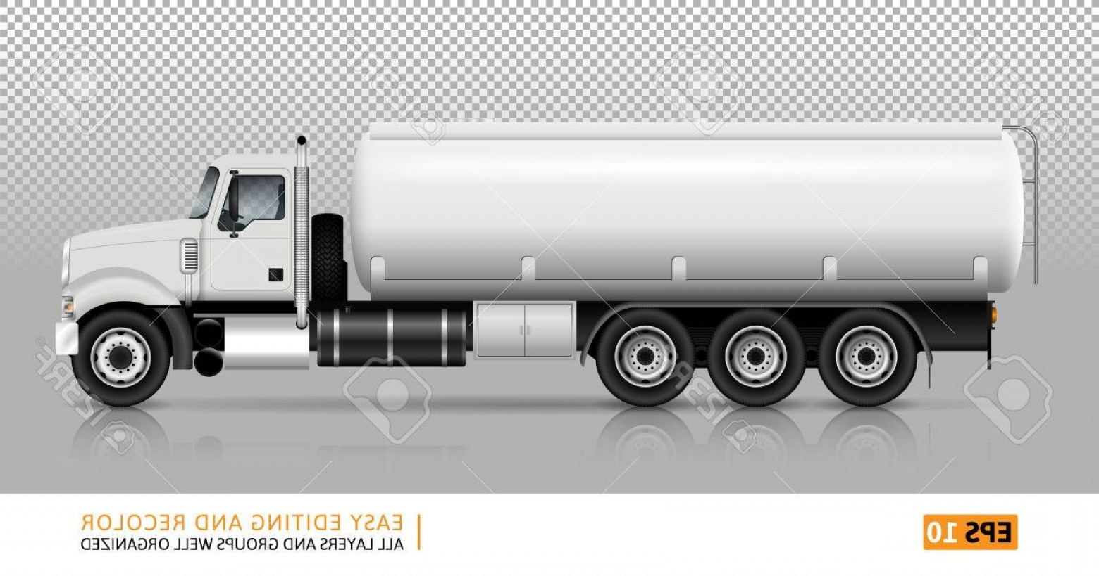 Vector Semi Tanker: Photostock Vector Tanker Truck Vector Template For Car Branding And Advertising White Fuel Semi Truck On Transparent B