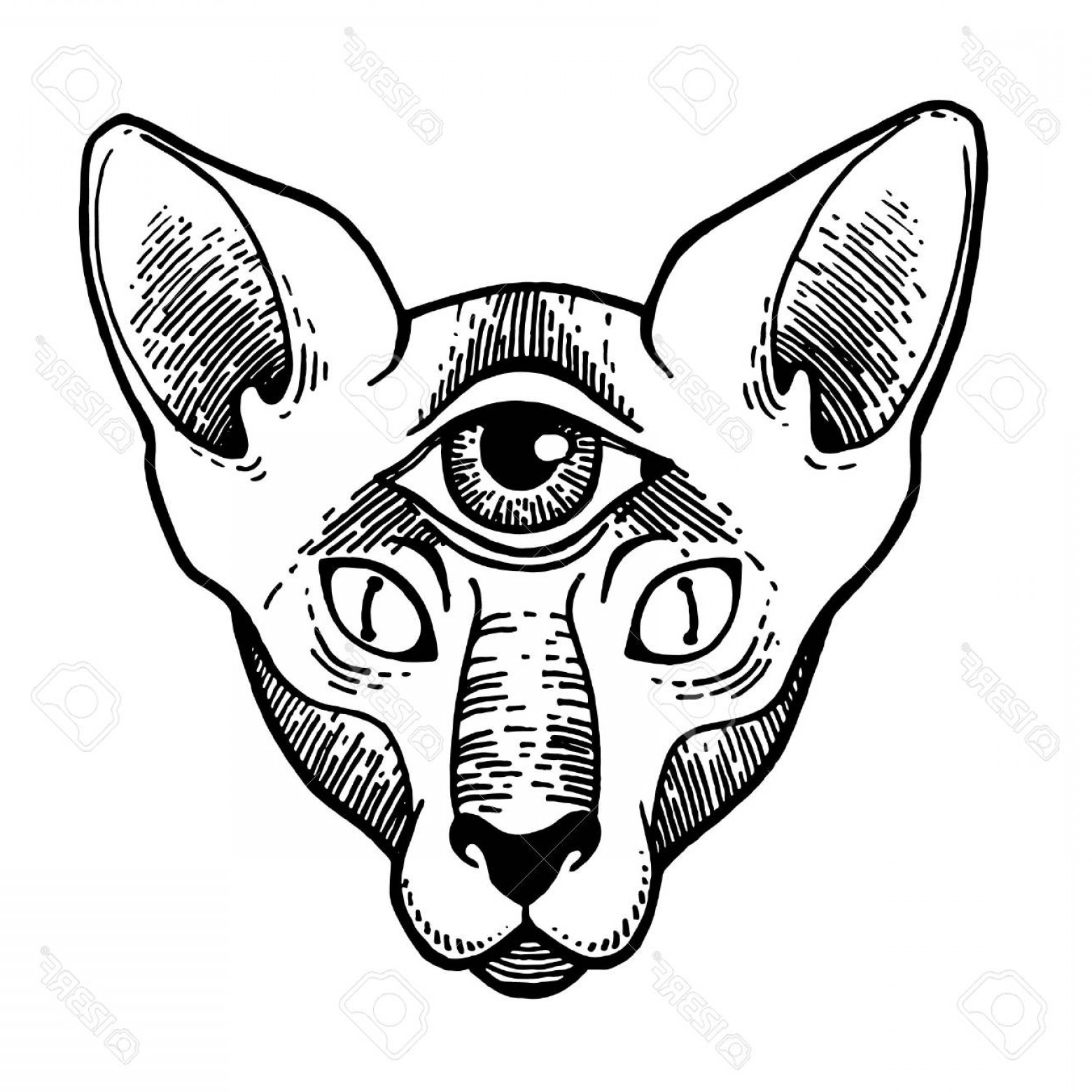 Vector Cats 3: Photostock Vector Tattoo Design Of Cat With Eyes Artwork For Print And Textiles