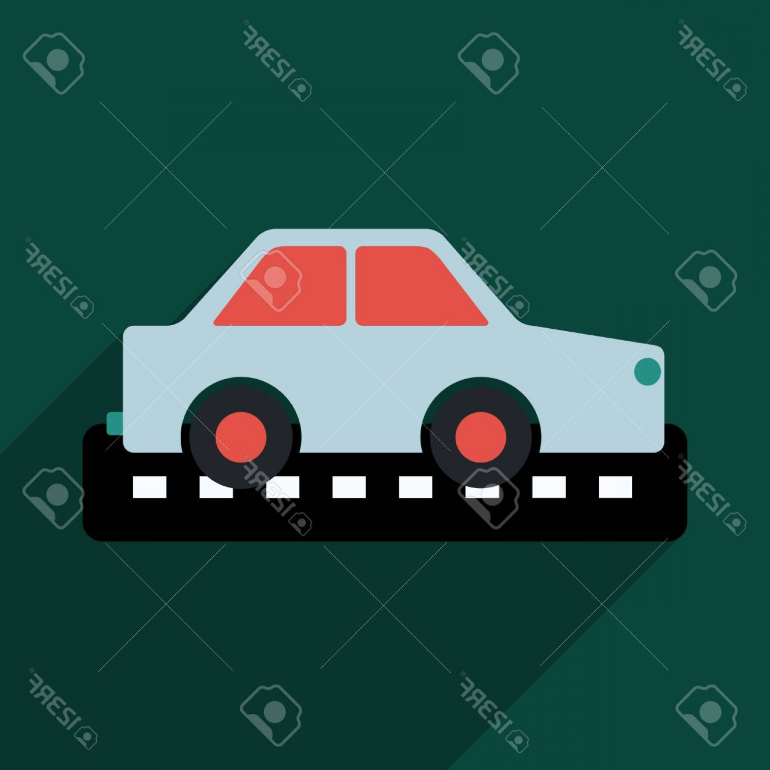 Taxi Checkers Vector: Photostock Vector Taxi Car Top View Icon Taxicab Sedan With Checker Top Light Box On Roof Flat Style Vector Illustrati
