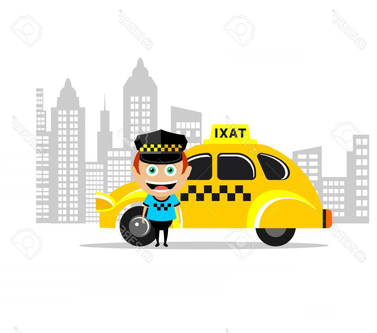 Vector Taxi Cab Driver: Photostock Vector Taxi Driver And The Taxi Vector Illustration Icon Taxi