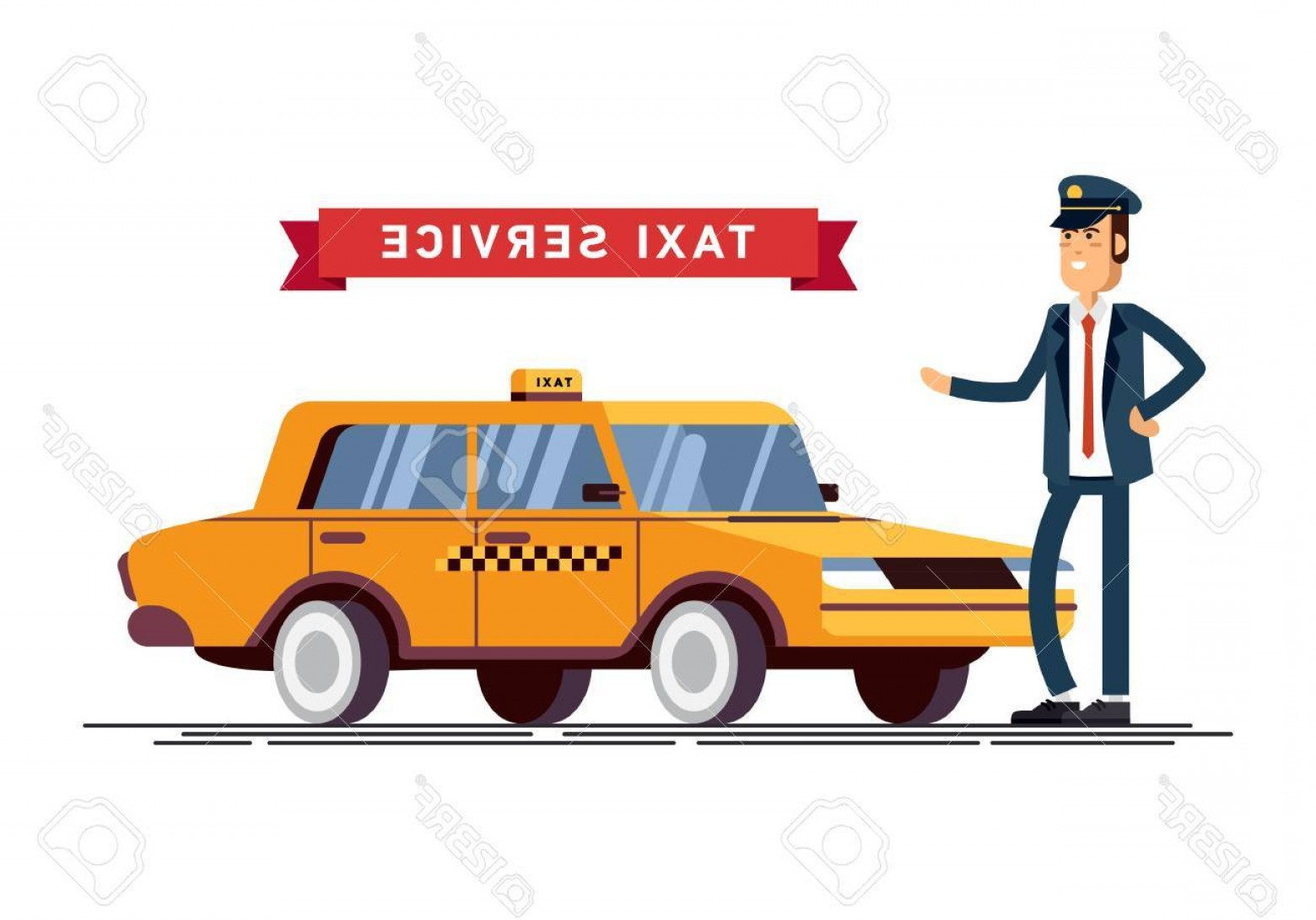 Vector Taxi Cab Driver: Photostock Vector Taxi Driver Call With Smartphone Service Background