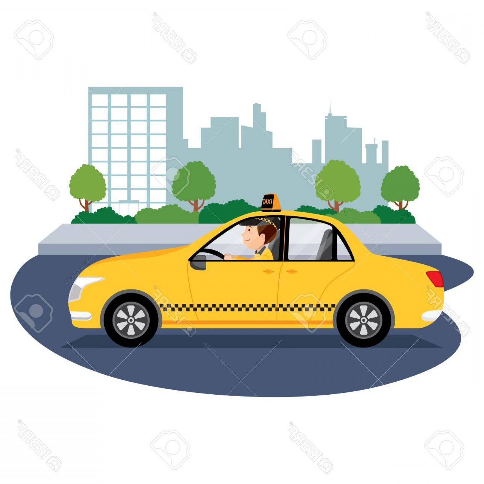 Vector Taxi Cab Driver: Photostock Vector Taxi Driver Driving In The City