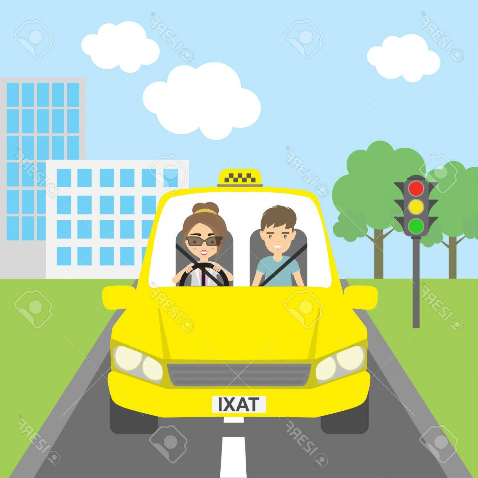 Vector Taxi Cab Driver: Photostock Vector Taxi Driver With Passenger Smiling People In Yellow Cab Riding On The City Street Yellow Car For Urb