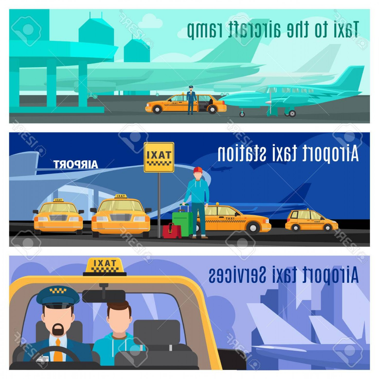 Vector Taxi Cab Driver: Photostock Vector Taxi Service Banners Airport And City Taxi Car Cab Driver Vector Illustration