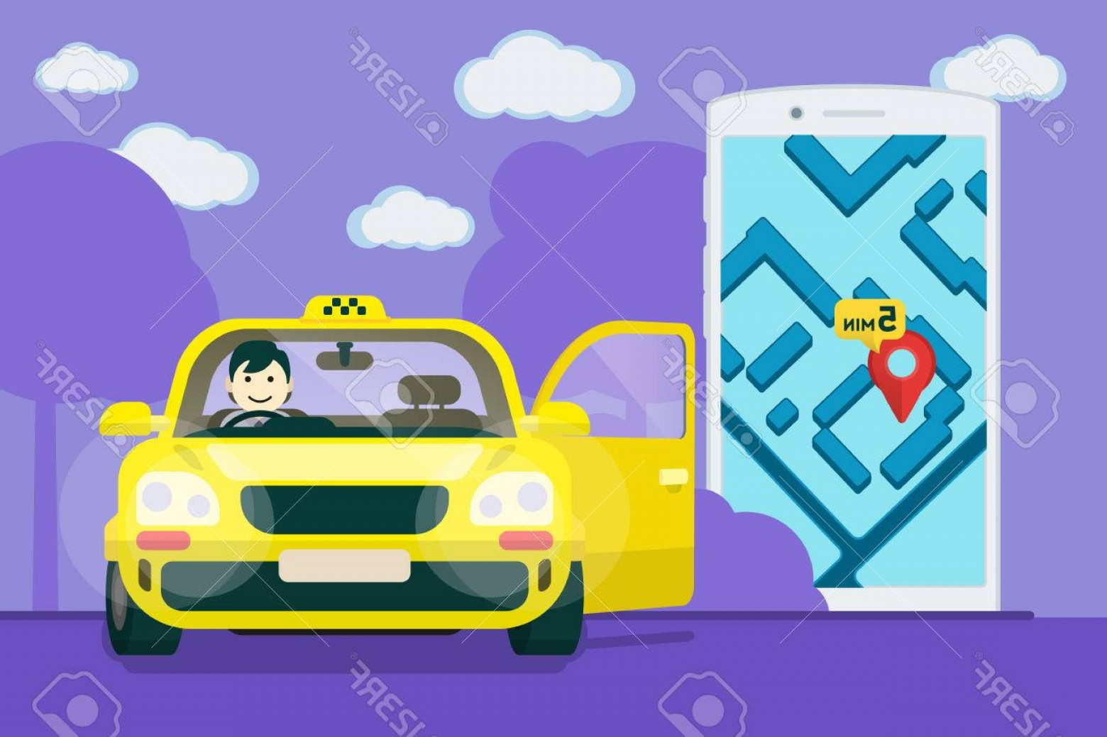 Vector Taxi Cab Driver: Photostock Vector Taxi Service Flat Yellow Taxi With A Driver The Car With The Door Open Car Front View Flat Mobile Ph