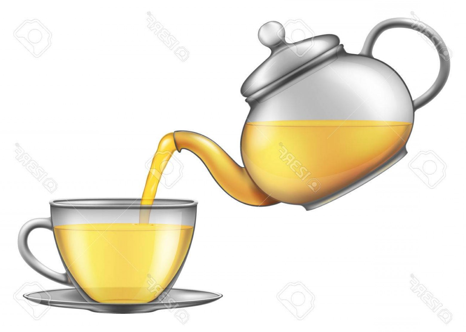 Teapot And Cup Vector: Photostock Vector Tea Pouring From Teapot Into A Cup Vector Illustration