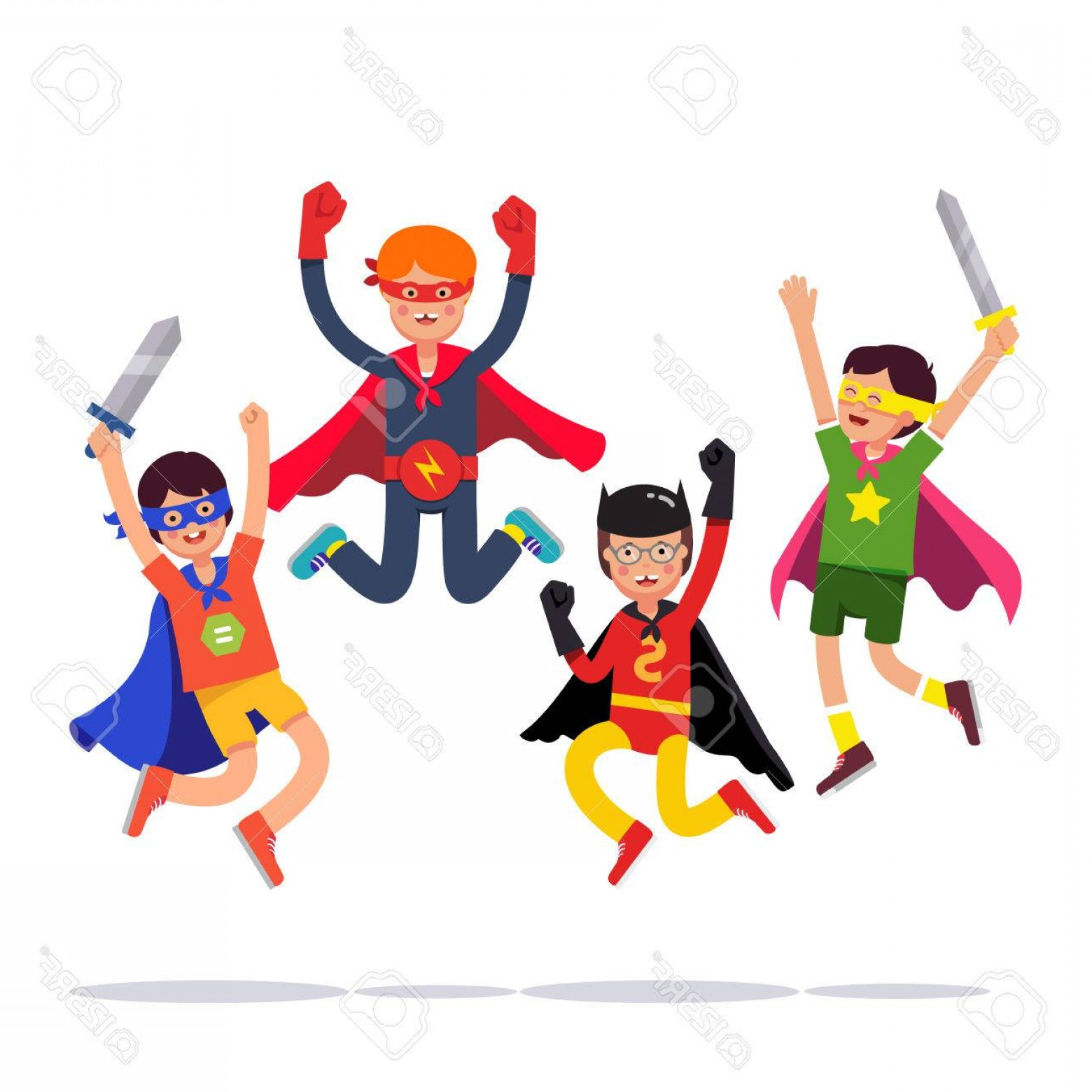 Vector Cosplay: Photostock Vector Team Of Young Superhero Boys Kids Playing Cosplay With Improvised Costumes Capes And Masks Pretendin