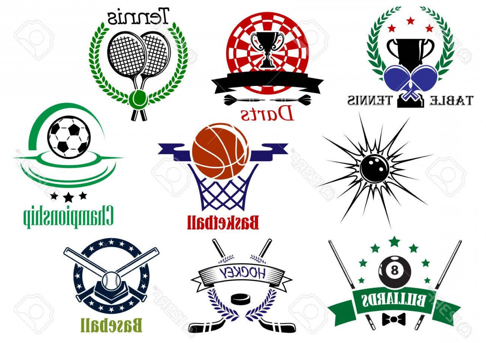 Hockey Teams Logo Vectors: Photostock Vector Team Sports Emblems And Logo For Football Or Soccer Ice Hockey Darts Basketball Billiards Tennis Bow