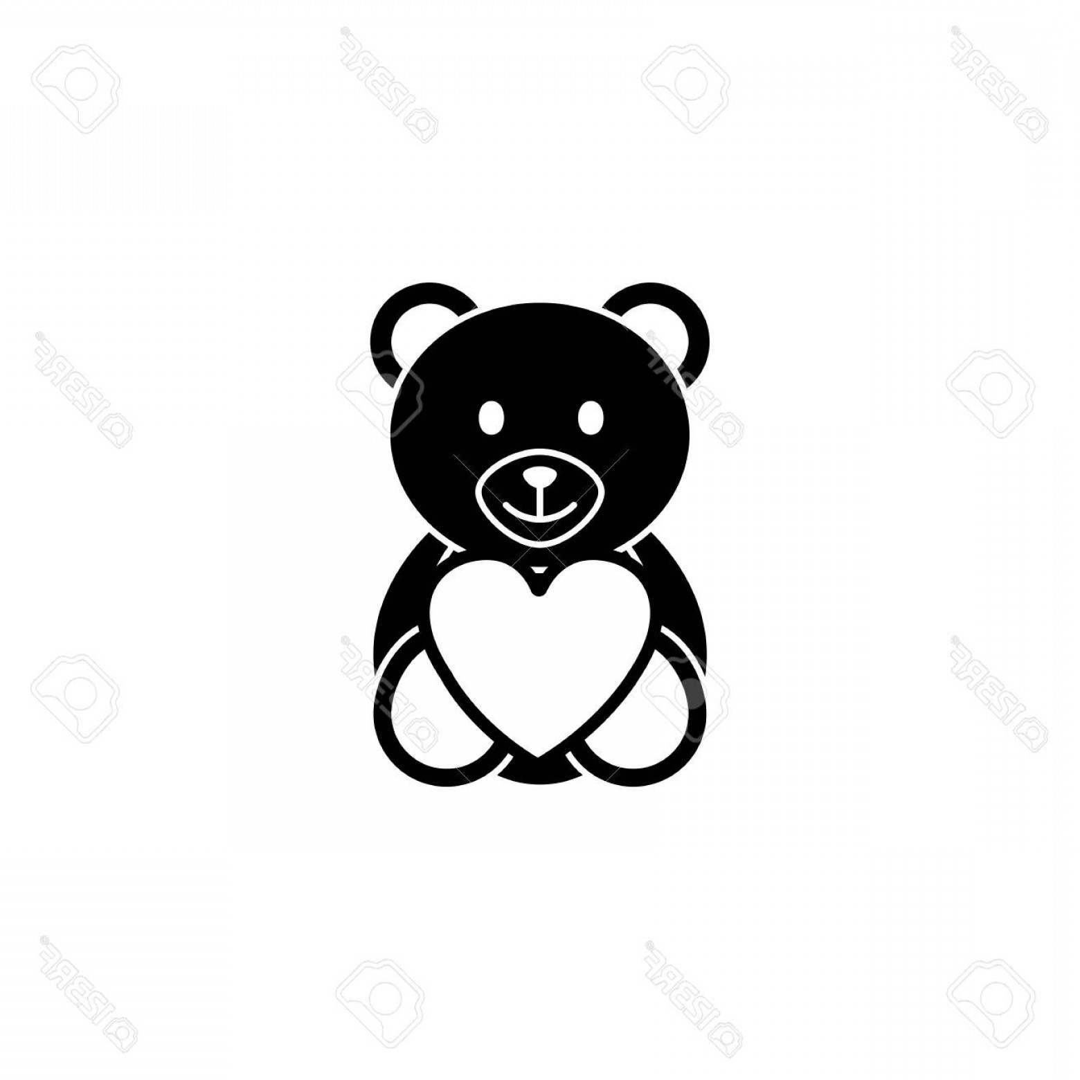 Solid Heart Vector Drawing: Photostock Vector Teddy Bear Wtih Heart Solid Icon Soft Toy For Valentine S Day Vector Graphics A Filled Pattern On A
