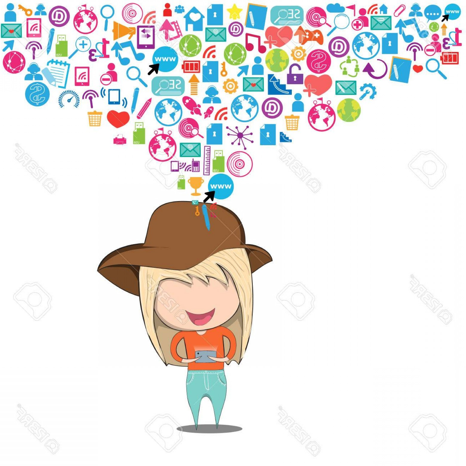 Teenage Icons Vector: Photostock Vector Teenage Girl Wearing Hat Playing With Phone Happy Template Design Thinking Idea With Social Network