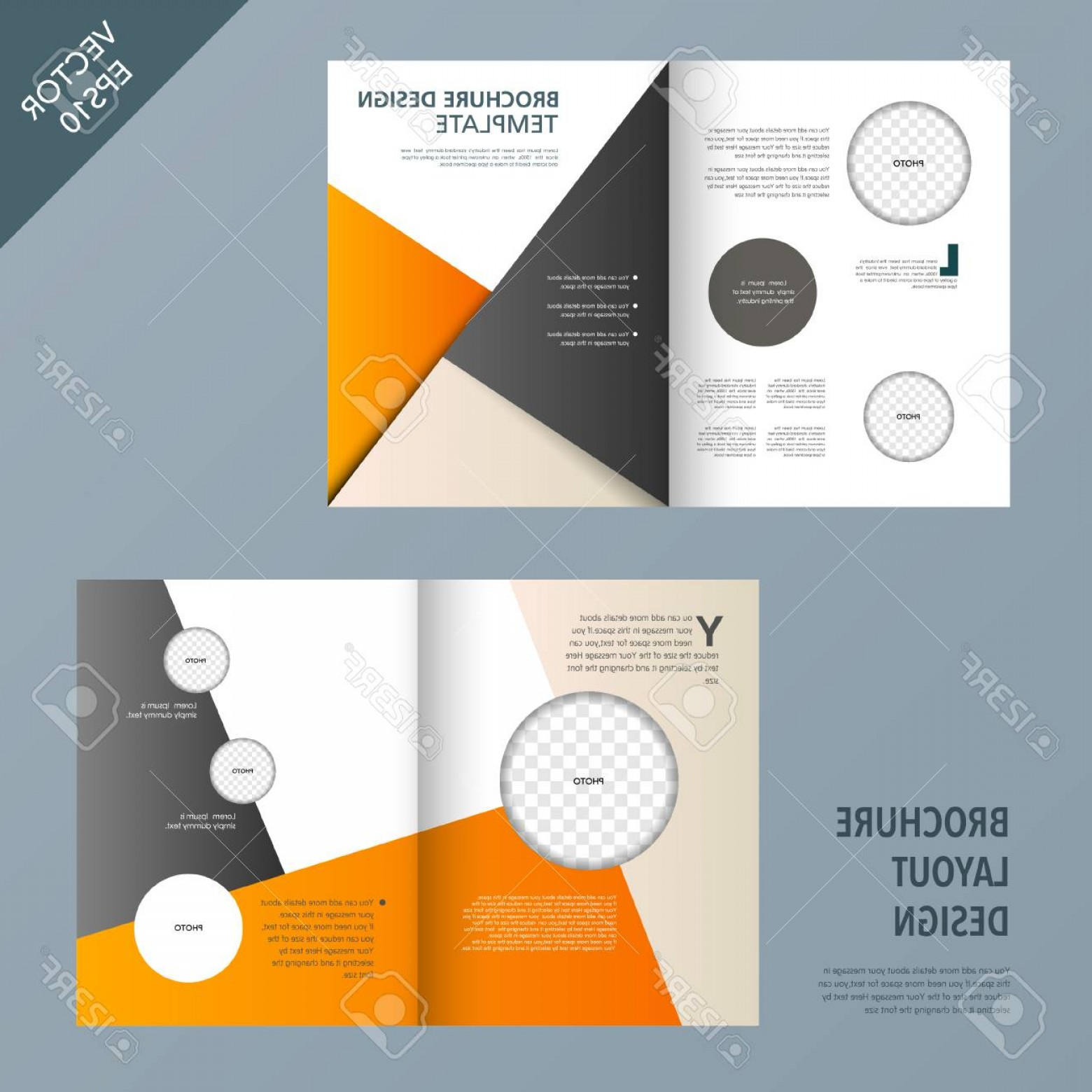 Pmon Vector: Photostock Vector Template Of Brochure Design With Spread Pages