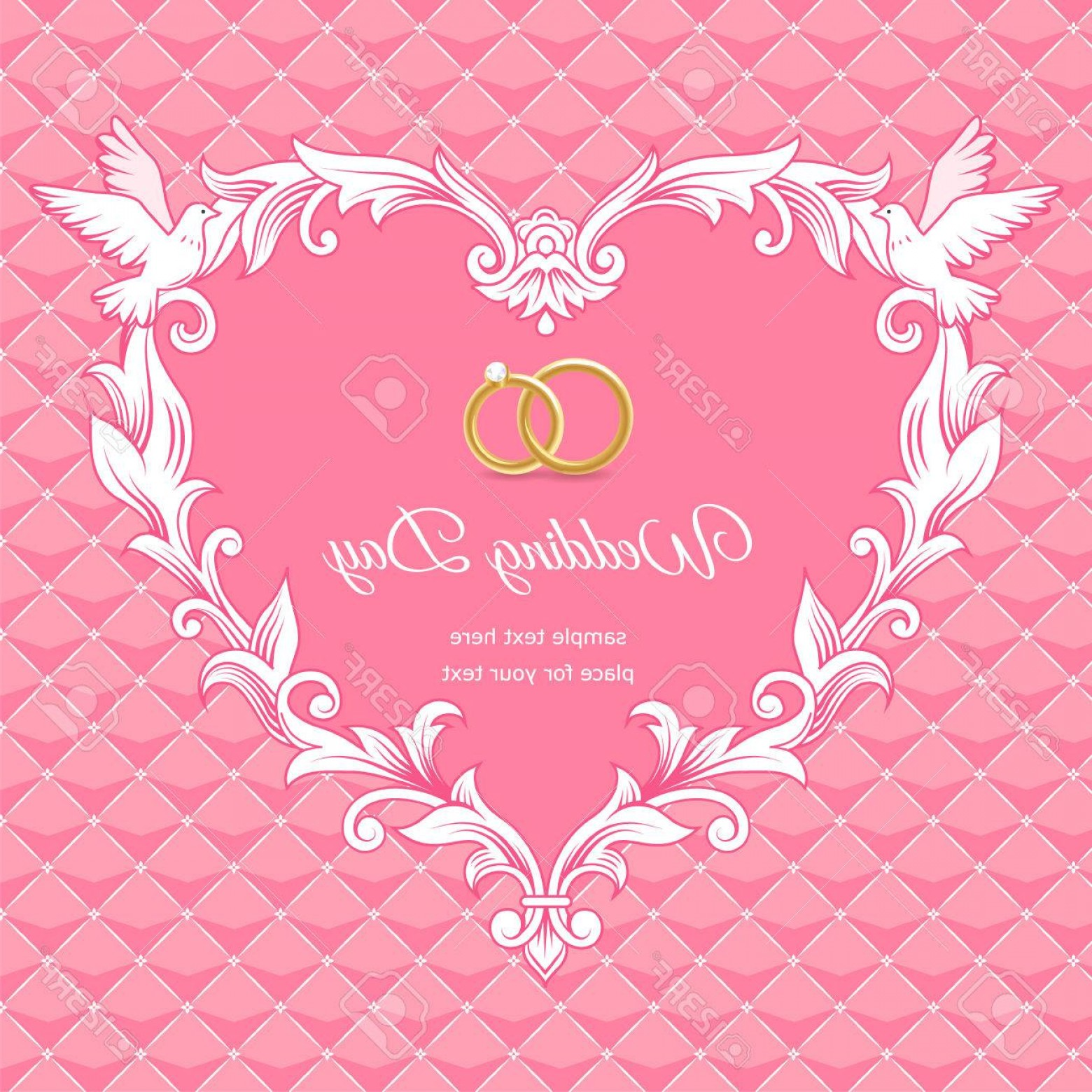 Heart Card Vector: Photostock Vector Template Of Wedding Card Frame Heart Shaped On Pink Background