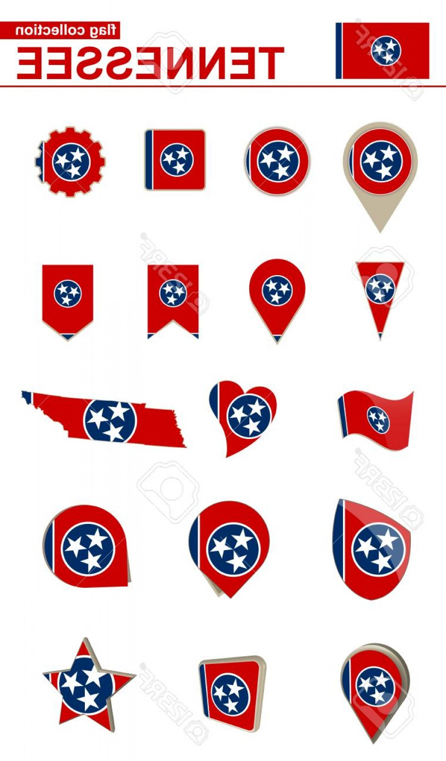 Tennessee Flag Vector: Photostock Vector Tennessee Flag Collection Big Set For Design Vector Illustration