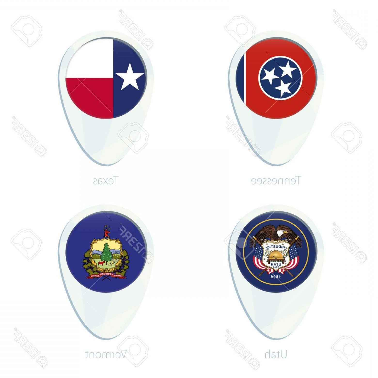 Tennessee Flag Vector: Photostock Vector Tennessee Texas Utah Vermont Flag Location Map Pin Icon Tennessee State Flag Texas State Flag Utah S