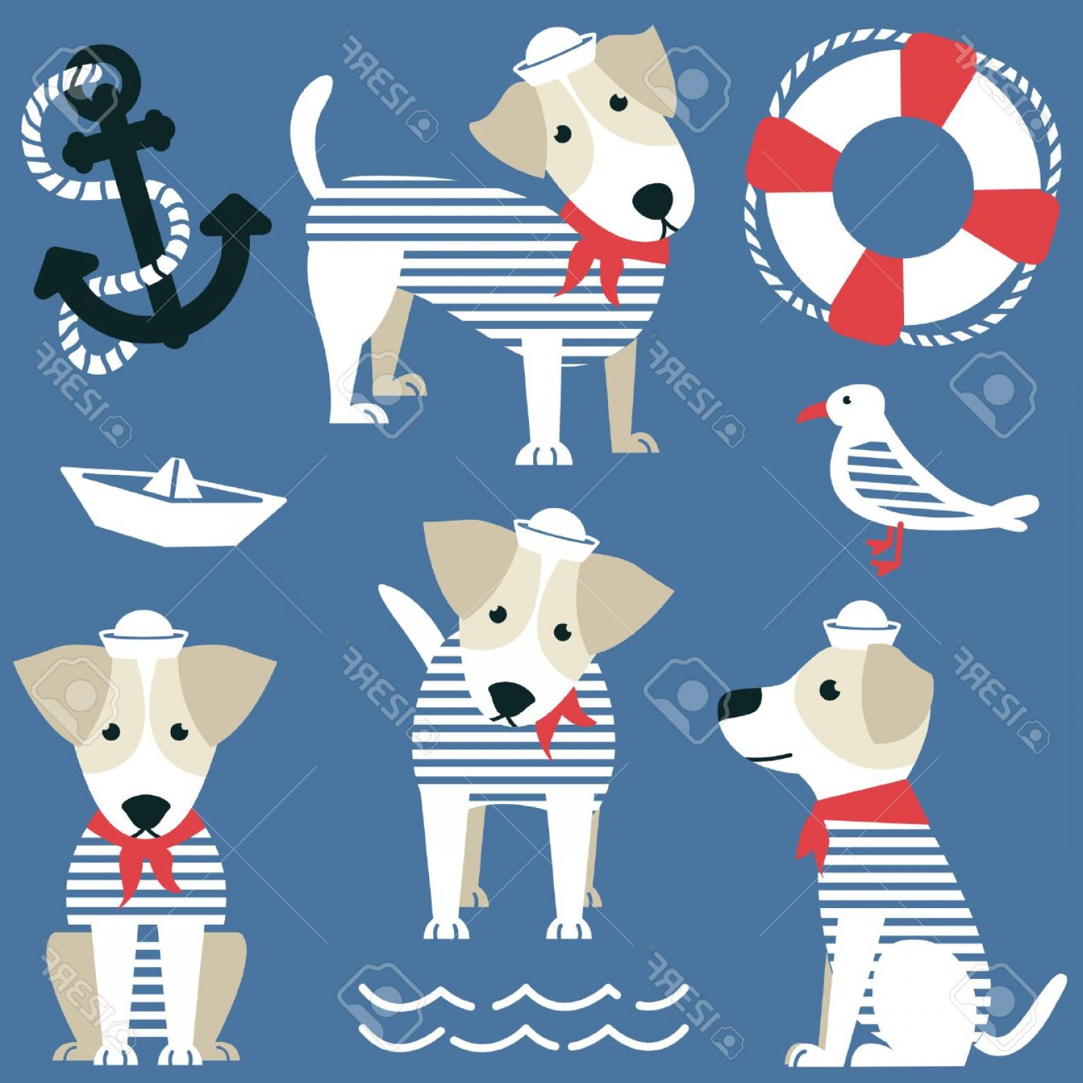 Marine Bulldog Logo In Vector: Photostock Vector Terrier As A Sailor And Marine Objects Ison Set Cute Dog Dressed In A Red Bandana And White Panama G