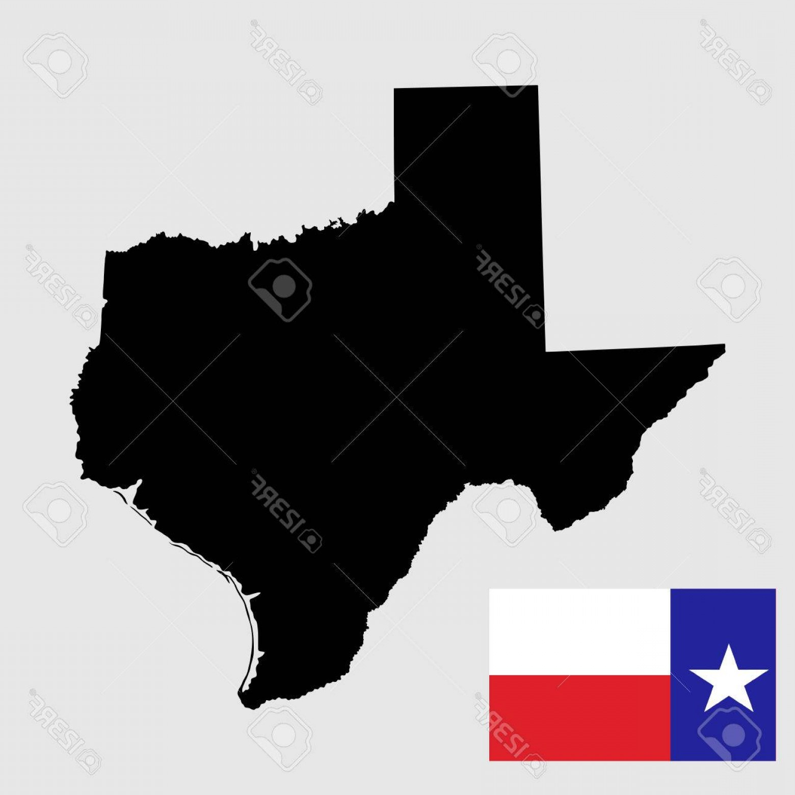 Texas Flag Vector Art: Photostock Vector Texas Vector Map High Detailed Silhouette Illustration Isolated On White Background Texas Flag Vecto