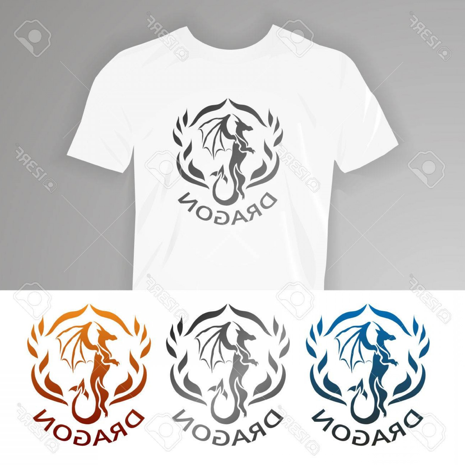 Dragon Vector Design: Photostock Vector Text On T Shirt Dragon Vector Illustration Dragon For Design Of T Shirts Mugs Pens And Other Things