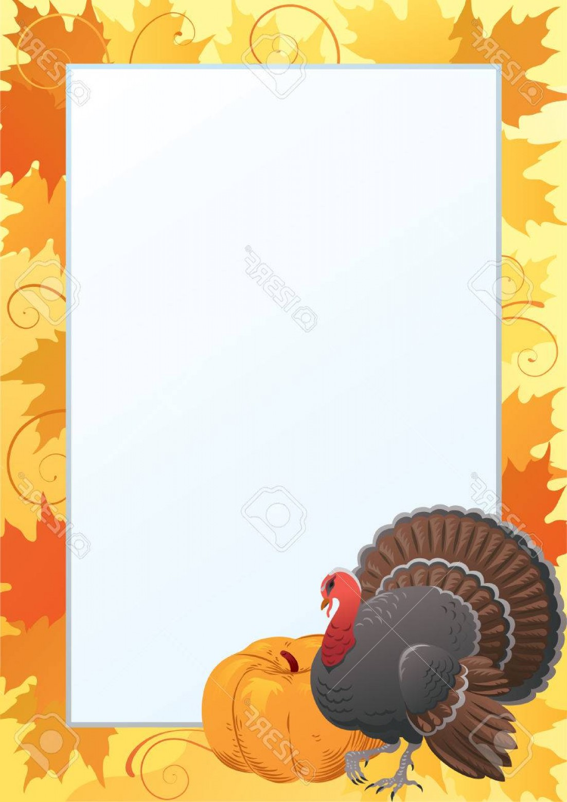 Thanksgiving Border Vector: Photostock Vector Thanksgiving Frame Vector Border With Turkey Pumpkin And Many Red And Yellow Maple Leaves