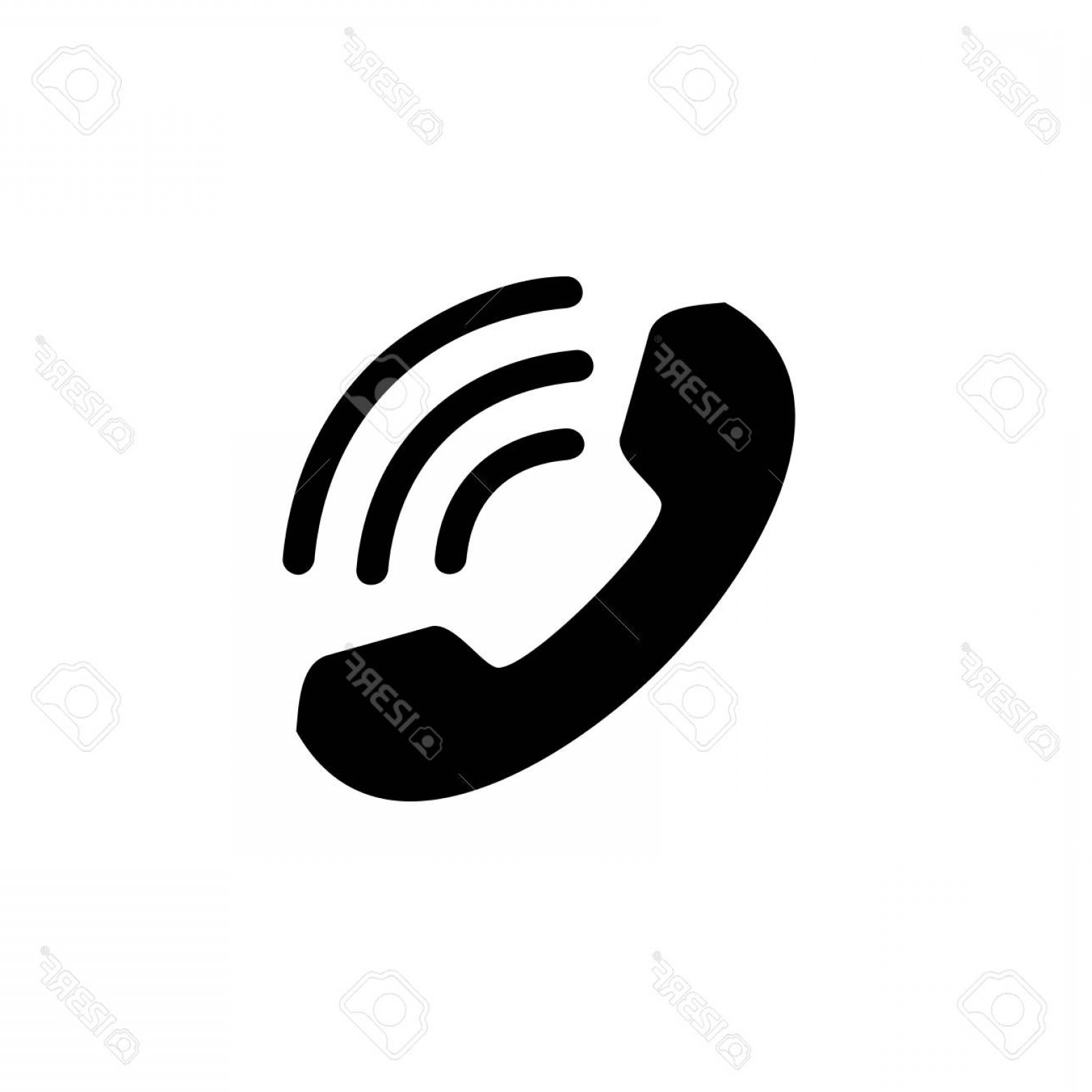 BBB Logo In Vector Form: Photostock Vector The Basic Logo Form Of A Vintage Telephone Receiver With A Hanger Receiver And Signal Sign