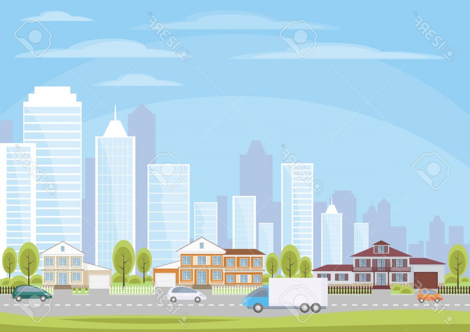 City Vector: Photostock Vector The Cottage Settlement On The Suburb Of The Big City Vector Background