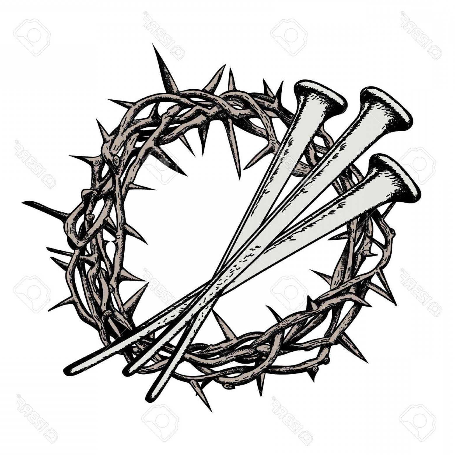 Nail Cross Vector: Photostock Vector The Crown Of Thorns With The Nails Of Jesus Christ Symbols Of Christianity Vector Drawing