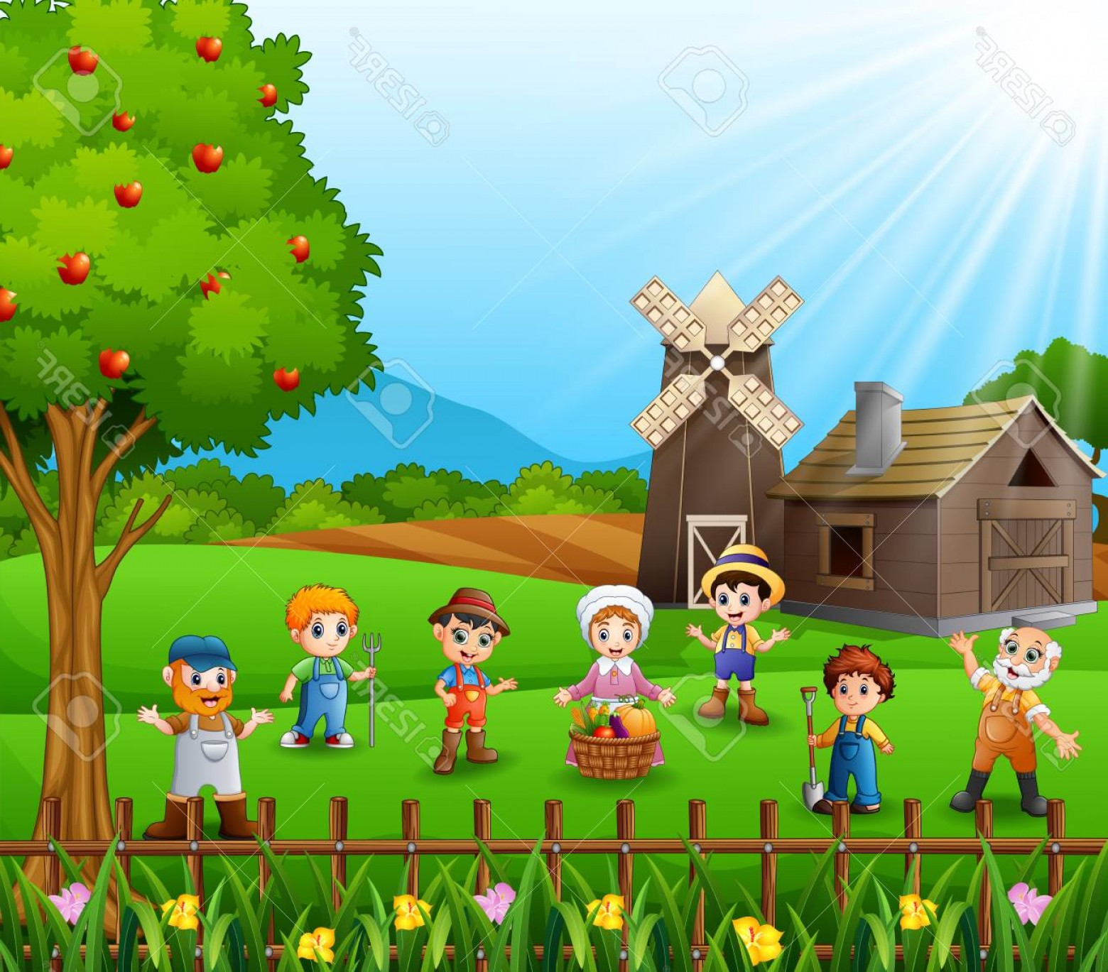 Farm Vector Illustration: Photostock Vector The Farmers Gathered In Farm Vector Illustration
