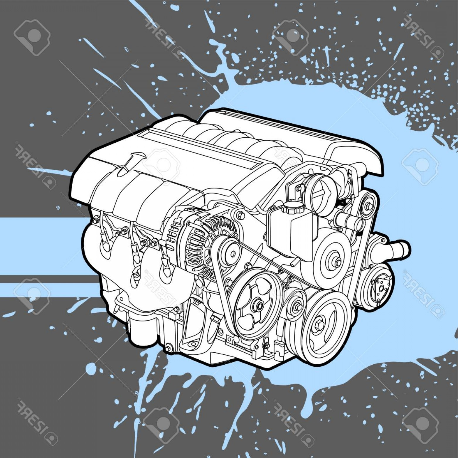Combustible Engine Vector: Photostock Vector The Internal Combustion Engine From The Car Vector
