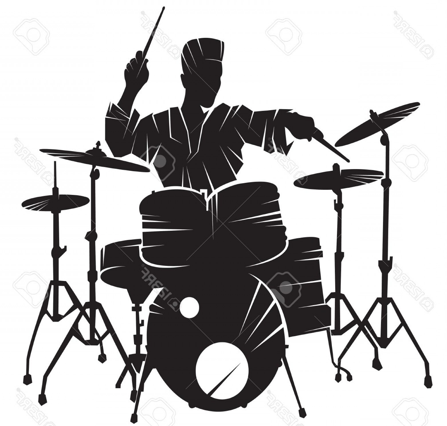 Musician Person Vector: Photostock Vector The Musician Playing Drum Setting Vector Silhouette