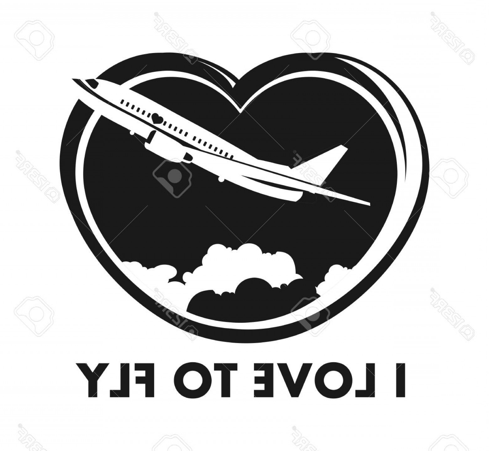 Black Heart And Plane Vector: Photostock Vector The Plane On A Background Of The Sky In The Shape Of A Heart Icon On A White Background Black And Wh