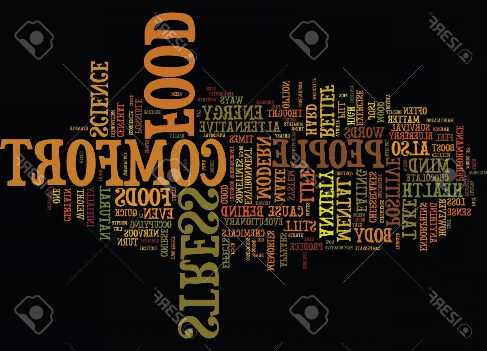 Thought Feel Vector: Photostock Vector The Possible Science Behind Comfort Food Text Background Word Cloud Concept