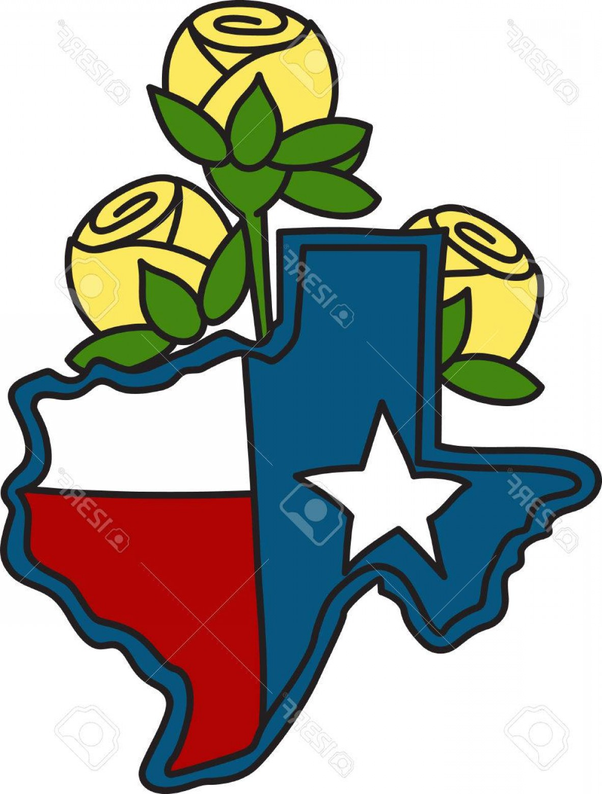 Texas Flag Vector Art: Photostock Vector The Shape Of The Lone Star State Filled With The Texas Flag And Decorated With Yellow Roses A Perfec