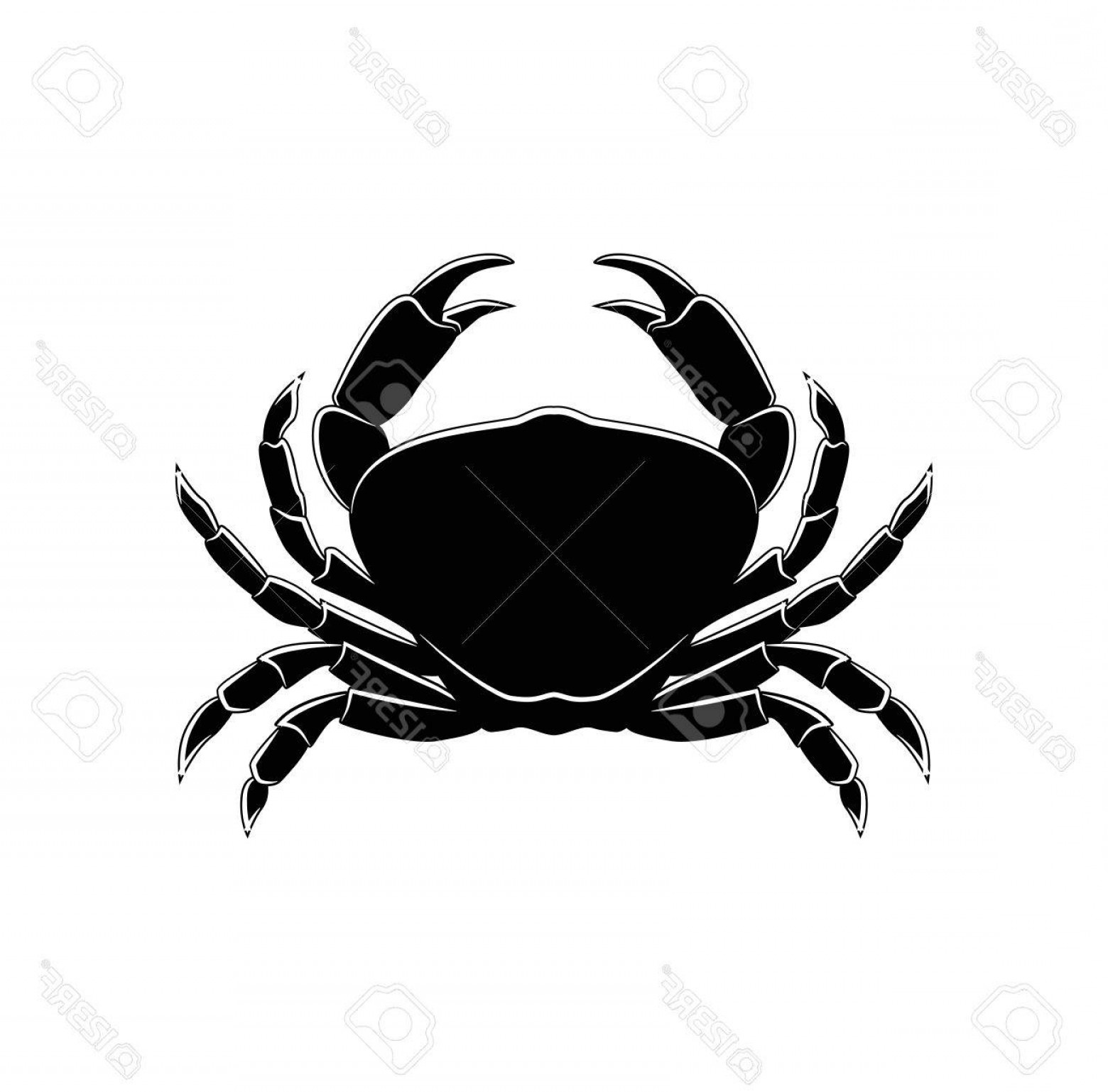 Crab Vector Black: Photostock Vector The Silhouette Of A Crab Vector Illustration Isolated On White Background