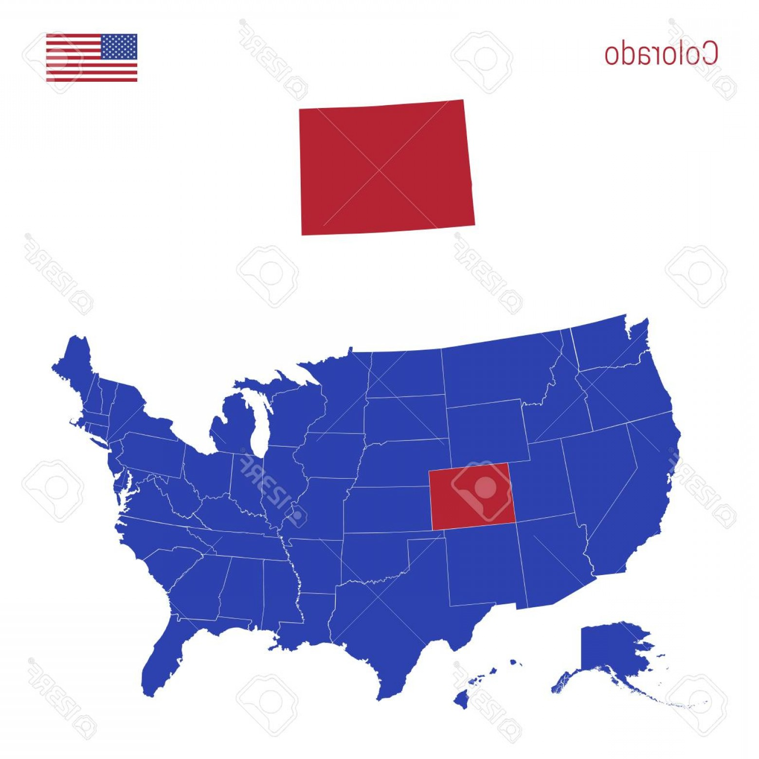 Colorado State Vector Maps: Photostock Vector The State Of Colorado Is Highlighted In Red Blue Vector Map Of The United States Divided Into Separa