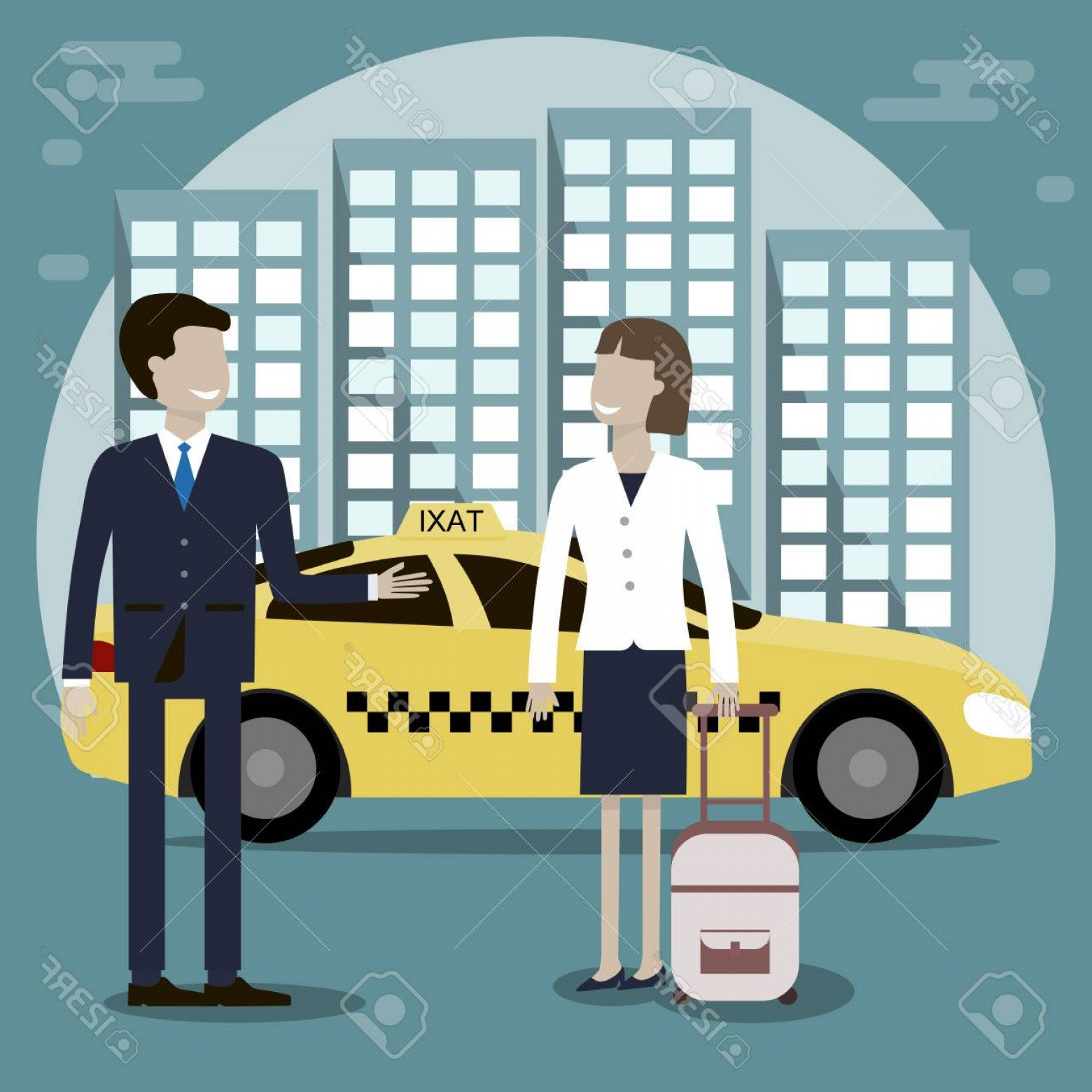 Vector Taxi Cab Driver: Photostock Vector The Taxi Driver Offers A Woman Passenger Services Yellow Taxi Cab In The Background Of The City Vect