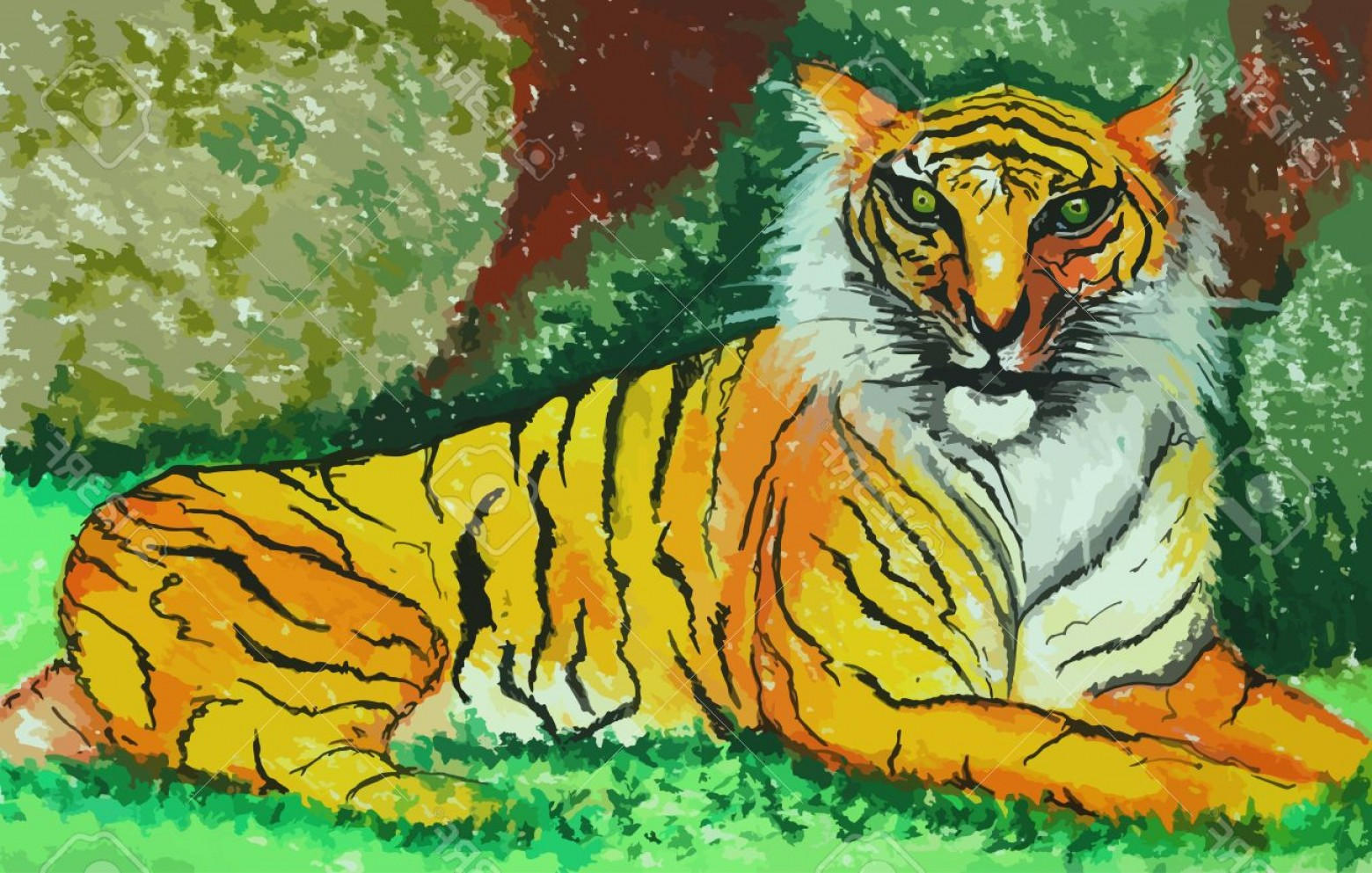 Green Tiger Vector: Photostock Vector The Tiger In Green Forest Painting Background