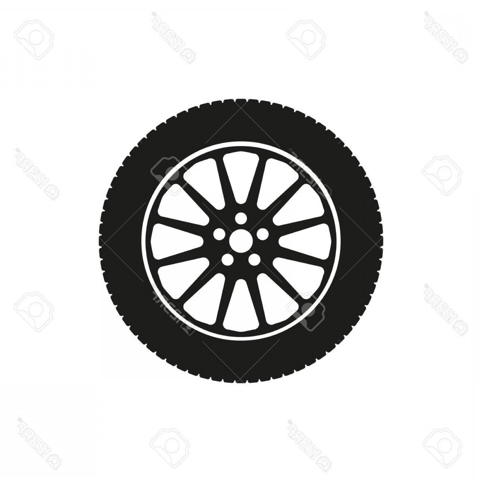 Tire Icon Vector: Photostock Vector The Tire Icon Wheel Symbol Flat Vector Illustration