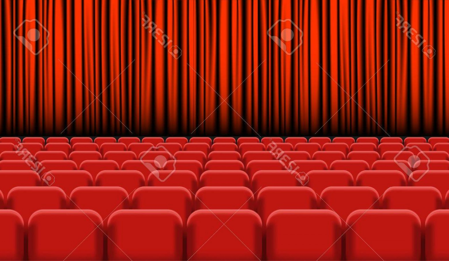 Stage Curtain Vector: Photostock Vector Theater Auditorium With Rows Of Red Seats And Stage With Curtain Vector Illustration