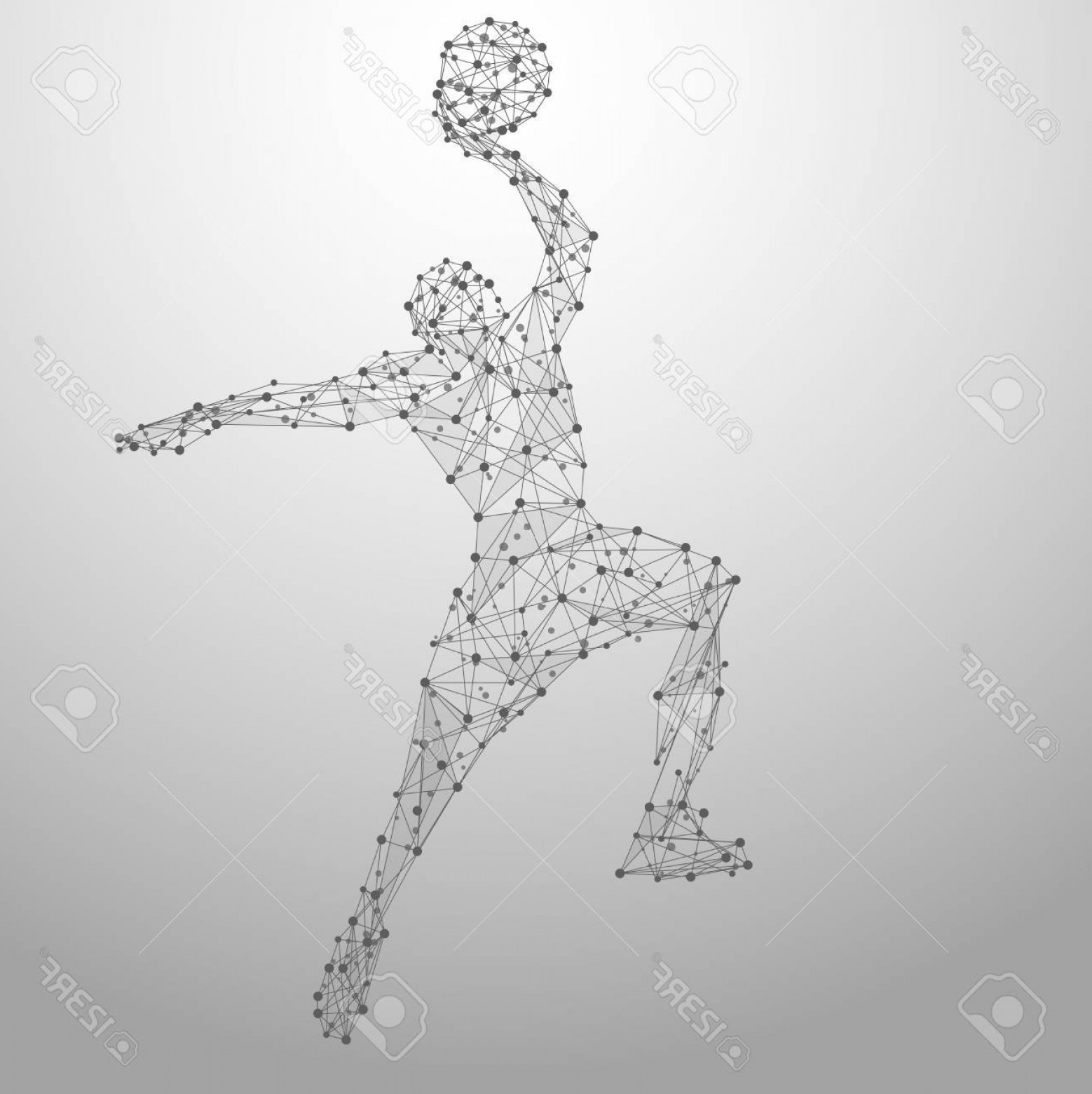 Motion Basketball Vector: Photostock Vector Thin Line Basketball Player In Motion From Blue Polygonal Basketball Player Jumping With The Ball Ab