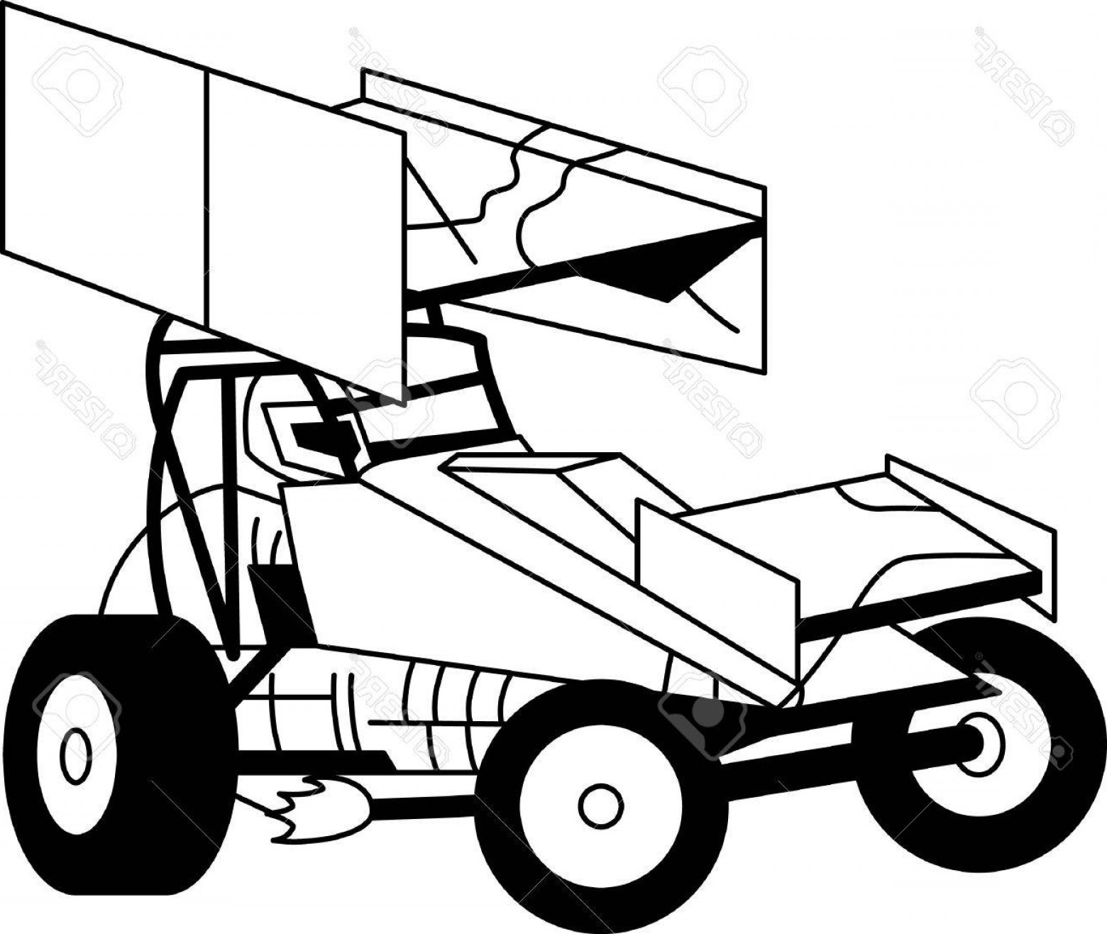 Sprint Car Vector: Photostock Vector This Sprint Car Outline Is Just Perfect For Vinyl Cutting Creates A Super Clean Eye Catching Design