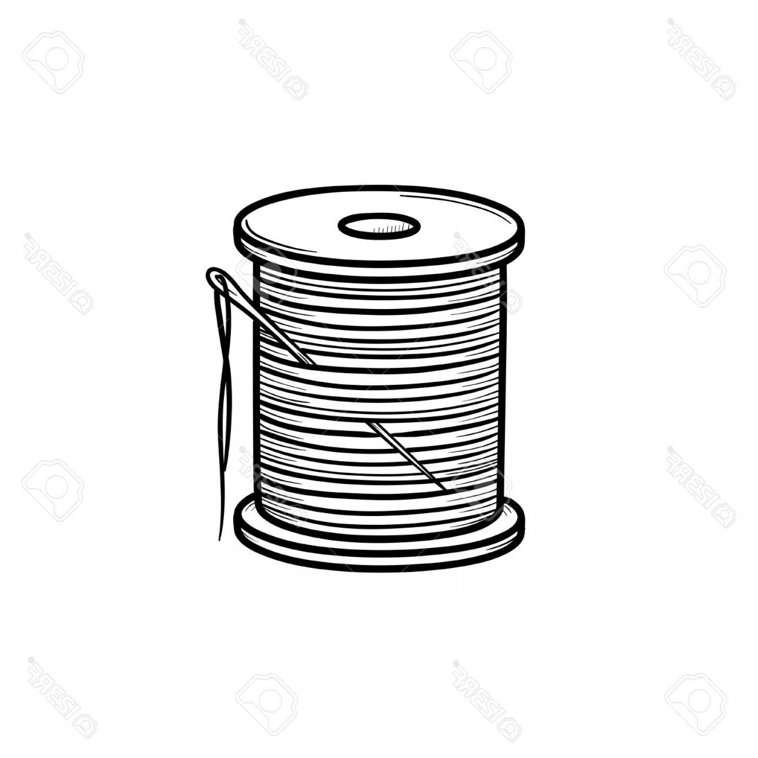 Sewing Spool Vector: Photostock Vector Thread Spool With Needle Hand Drawn Outline Doodle Icon Cotton Thread And Needle Vector Sketch Illus