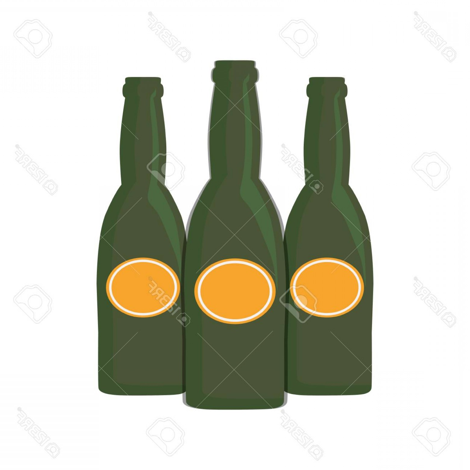 Alcohol Vector: Photostock Vector Three Beer Bottle Drink Beverage Alcohol Vector Illustration