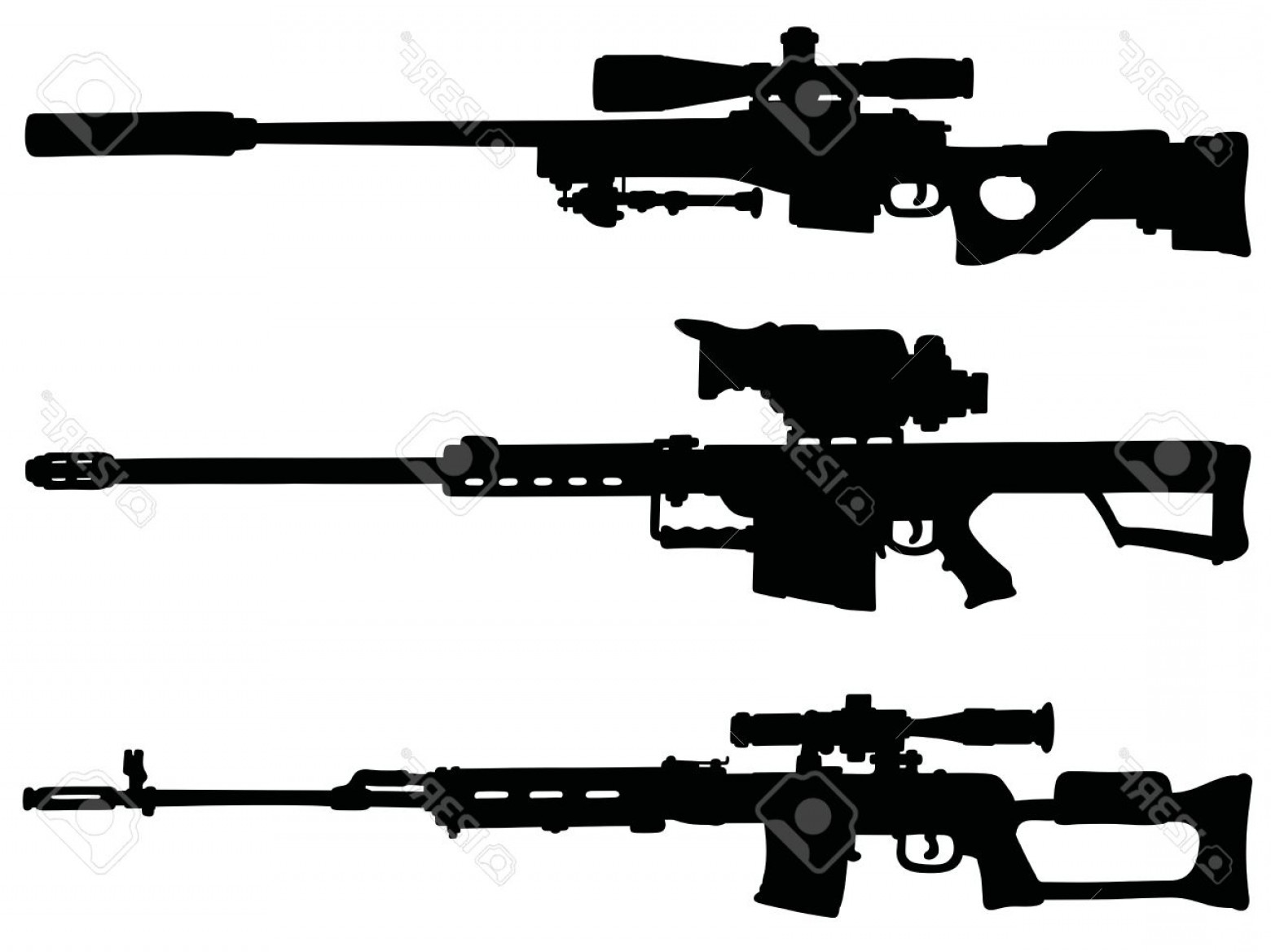 Hunting Rifle Vector Cross: Photostock Vector Three Big Black Sniper Rifles Silhouettes