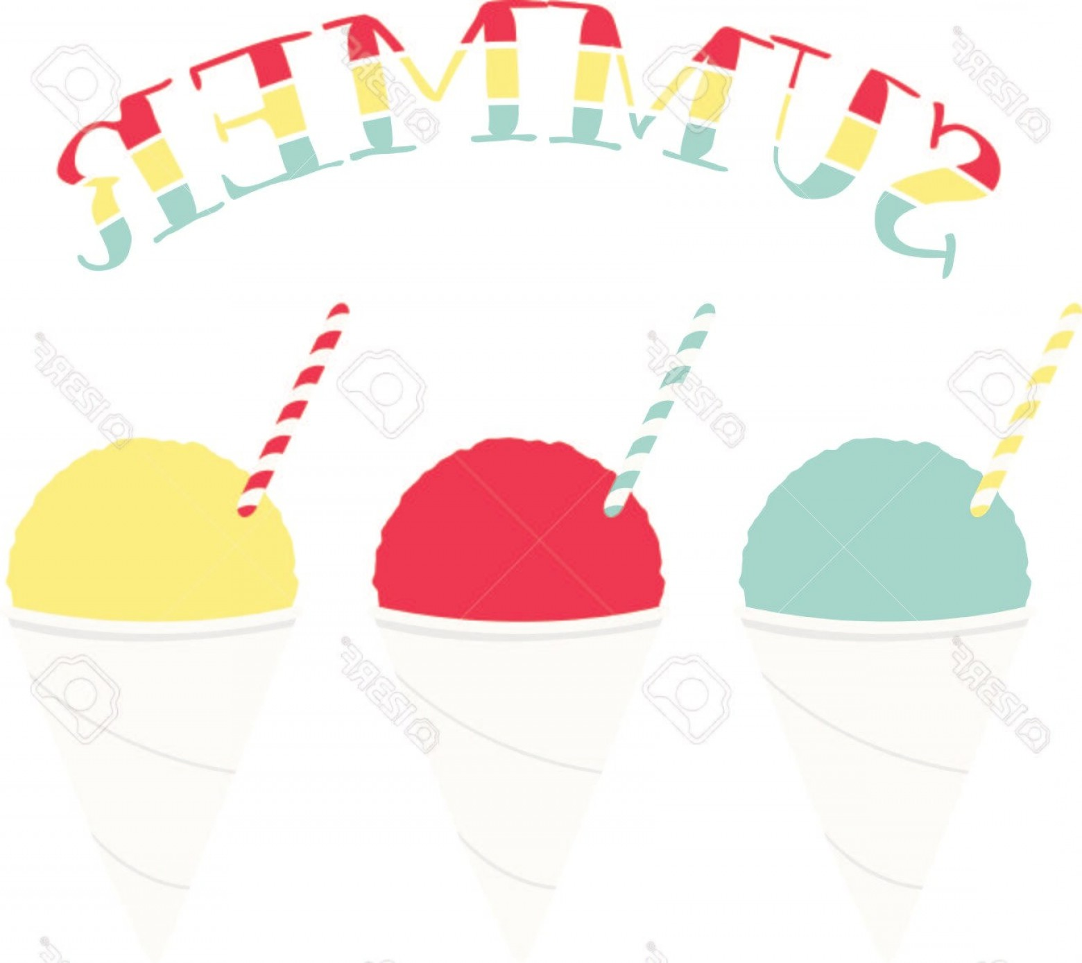 Snow Cone Vector Free: Photostock Vector Three Flavors Of Snow Cones For Iced Dessert Fanciers
