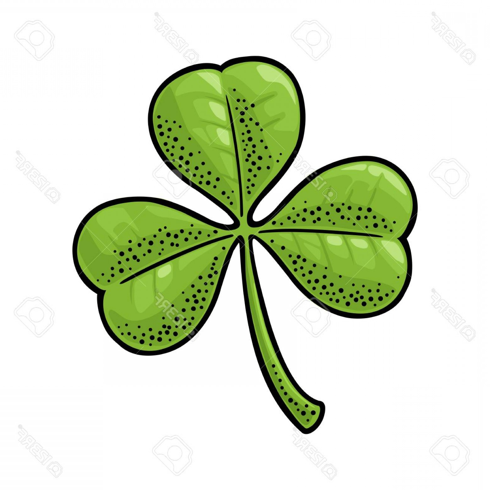 Shamrock Vector Art Vintage: Photostock Vector Three Leaf Clover Vintage Color Vector Engraving Illustration Isolated On White Background Hand Draw