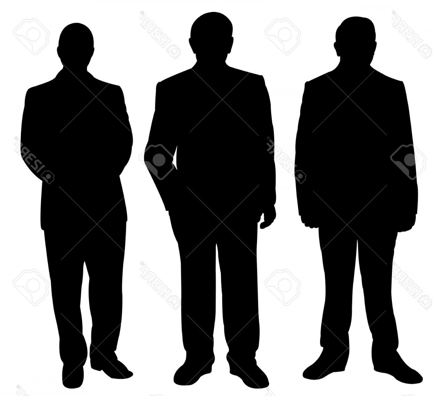 Male Silhouette Vector Art: Photostock Vector Three Standing Man Silhouette Vector